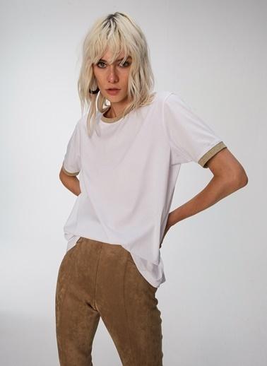 People By Fabrika Sim Şeritli Tişört Beyaz